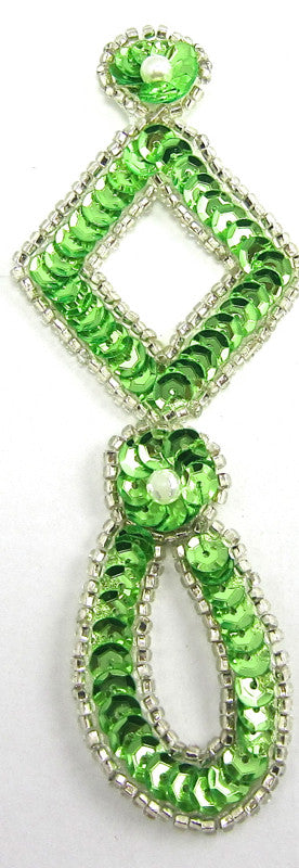 "Designer Motif Drop with Lime Green Silver Beads 4.5"" x 2"""