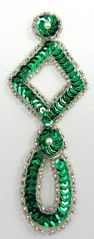 "Designer Motif Drop with Emerald Green Sequins Silver Beads 4.5"" x 2"""