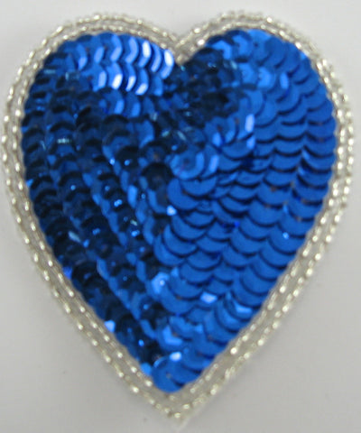 Heart  Royal Blue Sequins and Double Row Silver Beads in 2 Variants
