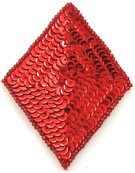 "Diamond with Red Sequins and Beads 2.5"" x 2.5"""