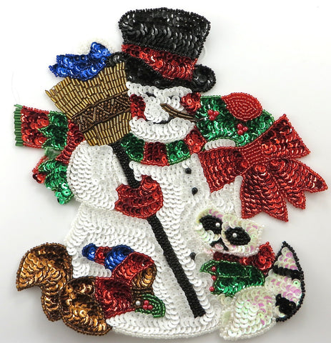 "Snowman With Broom and Animals 8.5"" x 8"""