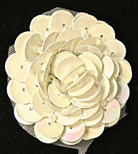 Flower with High Rise China White Beads  1.5""