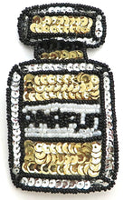"Load image into Gallery viewer, Parfum (perfume) Bottle Sequin Beaded Gold White and Black  4"" X 2.25"""