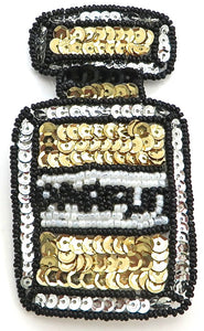 "Parfum (perfume) Bottle Sequin Beaded Gold White and Black  4"" X 2.25"""
