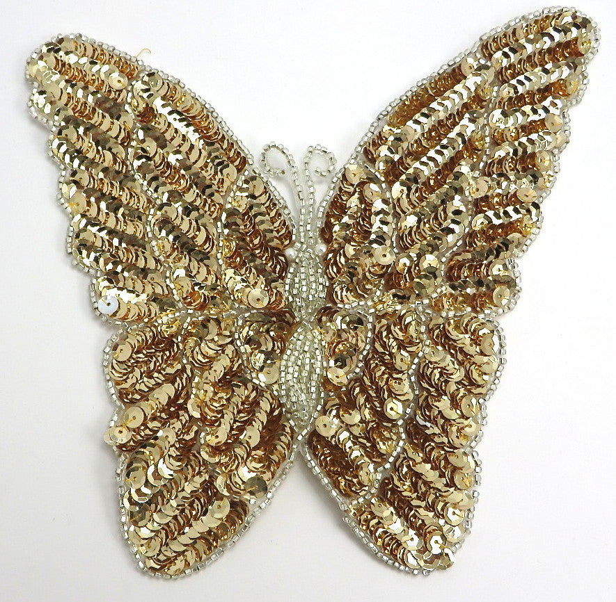 "Butterfly with Gold Sequins and Silver Beads 8"" x 7"""