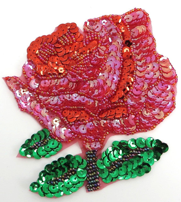 "Flower Rose with Red and Green Sequins and Beads 5"" x 5"""