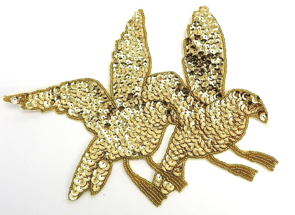 "Double Gold Beaded Birds 7"" x 7.5"""