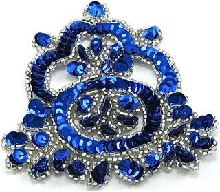 "Designer Motif with Royal Blue Sequins and Silver Beads 4"" x 4"""