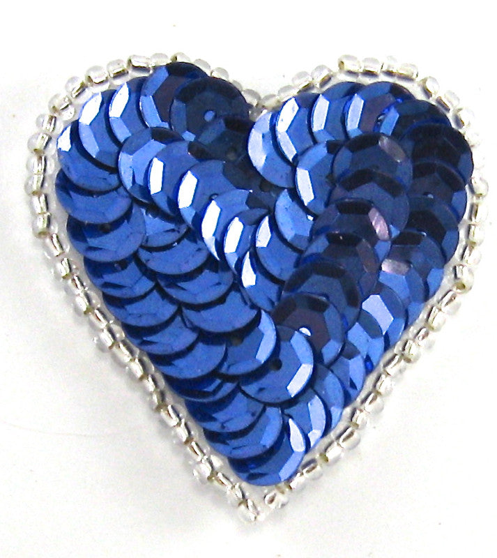 "Heart with Royal Blue Sequins Silver Beads 1.5"" x 1.5"""