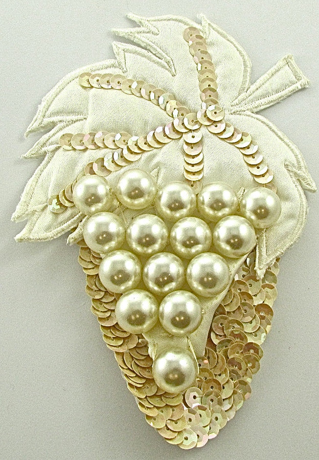 "Grape Applique with Cloth Leaf and large Pearl Beads Beige Sequins 6"" x 4"""