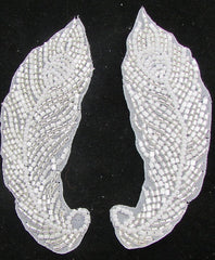 "Designer Motif Feather Shaped with Silver and White Beads 4.5"" x 2"""