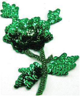 "Flower with Emerald Green Sequins and Beads 7.5"" x 4.5"""