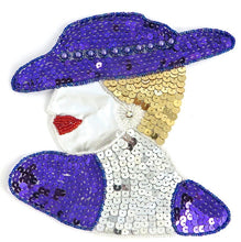 "Load image into Gallery viewer, Ladys Face with Purple Gold and Silver Sequins and Beads and AB Rhinestone 7"" x 6.5"""
