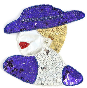 "Ladys Face with Purple Gold and Silver Sequins and Beads and AB Rhinestone 7"" x 6.5"""