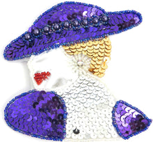 "Load image into Gallery viewer, Ladys Face Facing Left Purple Hat with AB Rhinestone 4.5"" x 4.5"""