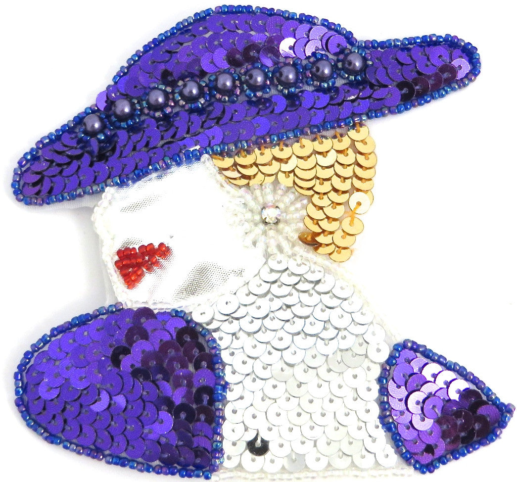 Ladys Face Facing Left Purple Hat with AB Rhinestone 4.5