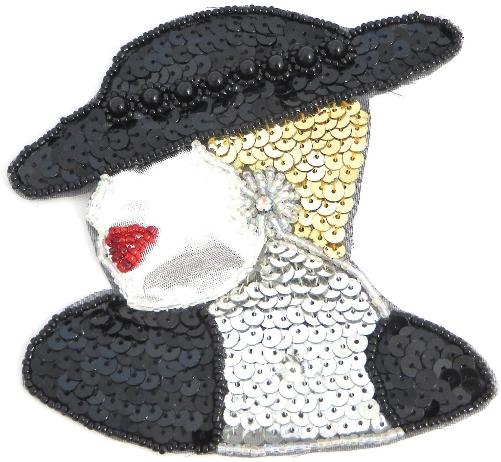 "Lady Facing Left with Black Gold Silver Sequins and Beads 4"" x 4.5"""