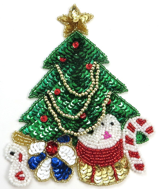 "Christmas Tree with Multi-Colored Sequins and Beads and Candy Cane 6"" x 4.5"