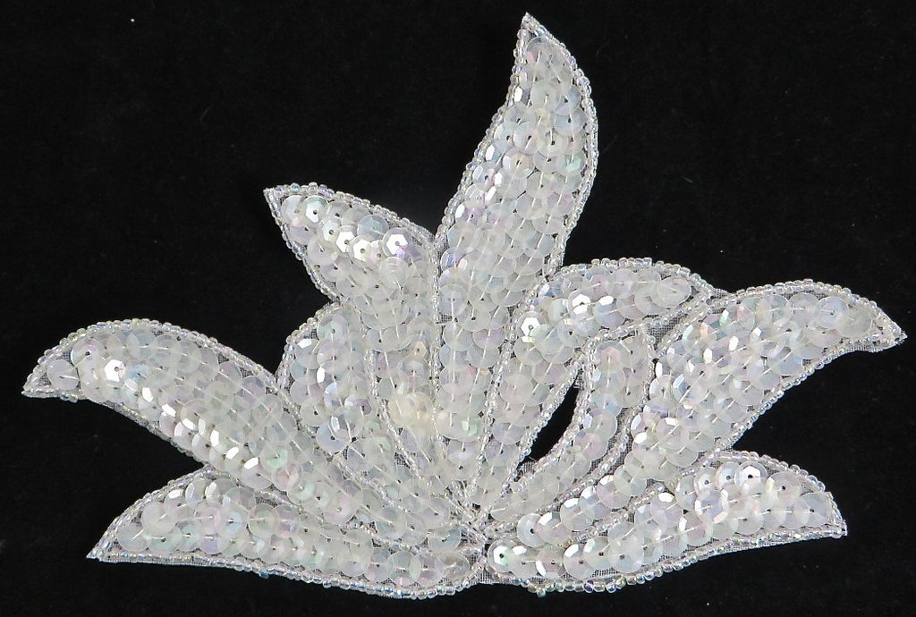 "Leaf with China White Iridescent Sequins and Beads 3.5"" x 6.5"""