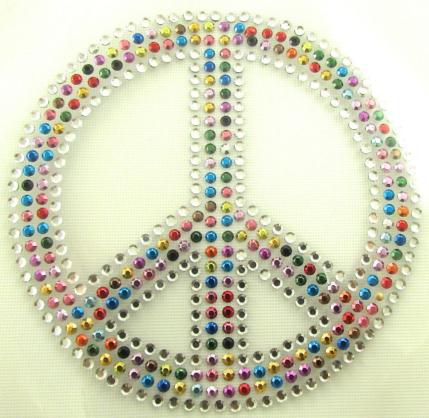 Peace Sign Iron-On Heat Transfer with Multi-Colored Crystals 4""