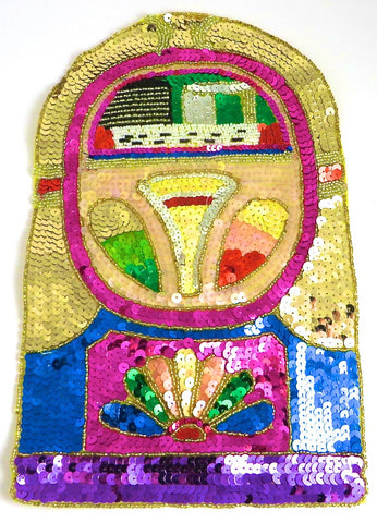 "Juke Box with Gold Blue Fuchsia Sequins 7"" x 4.75"""