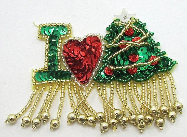 "I LOVE (Christmas Tree) 2.5"" x 3"""