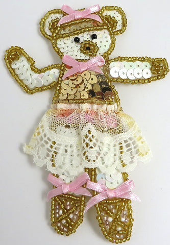 "Ballerina Bear Sequin Beaded with Pink Rinnob Bows and Lace Skirt  5"" x 3.5"""
