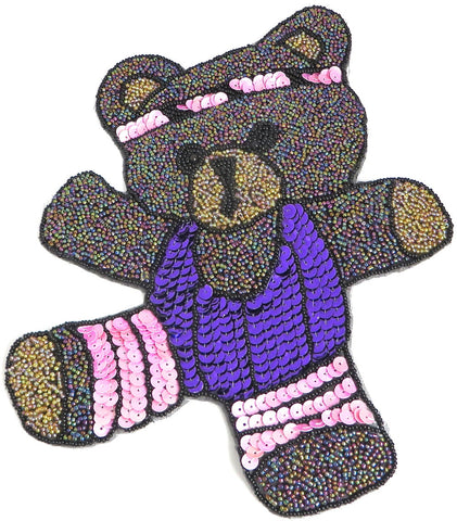 "Bear Doing Aerobics  Multi-Colored Sequins and Beads 9.5"" x 7.25"""
