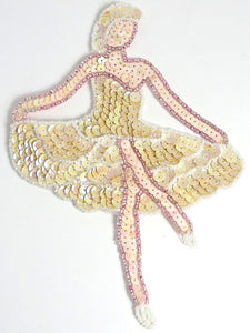"Ballerina with Beige Sequins 7.25 x 5.25"" - Sequinappliques.com"