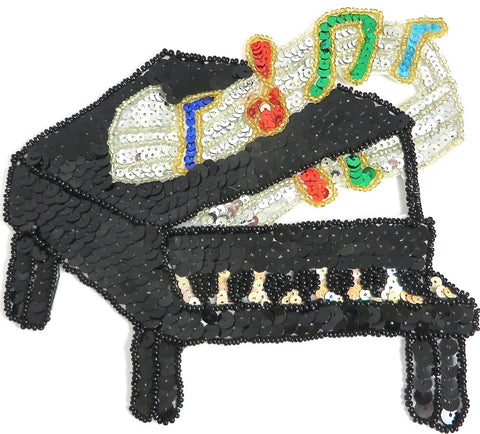 "Piano with Multi-Colored Sequins and Beads 6.5"" x 7"""
