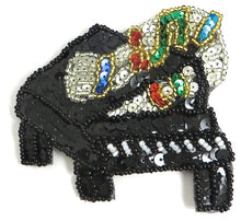 "Load image into Gallery viewer, Piano with Multi-Colored Sequins and Beads 3"" x 3.5"""