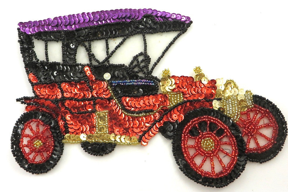 "Car Vintage Model T style, Multi-Color Sequins/Beads 5.5"" x 7.5"""