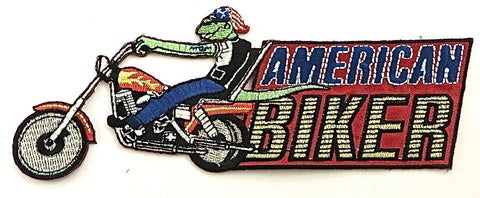 "Biker American Embroidered Applique Iron-On 2.5"" x 6"""