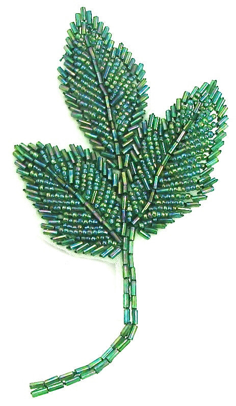 "Leaf with Green Beads 6"" x 3"""