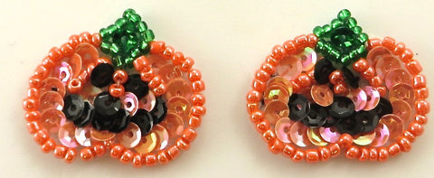 Pumpkin Pair with Orange, Green and Black Sequins and Beads 1""