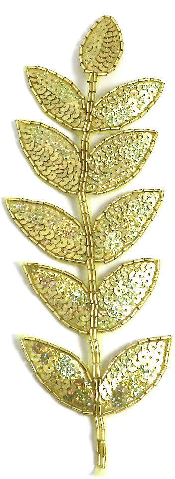 "Leaf Laurel with Gold Lazer Sparkley Sequins and Beads 9"" x 3"""