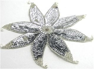 "Flower with Silver Beads and Rhinestones 9"" x 9"""