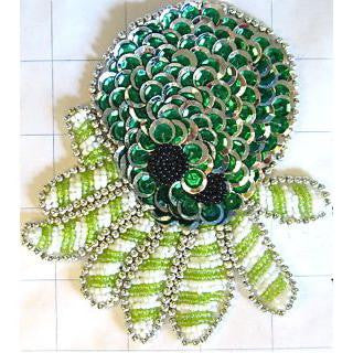 "Octopus with Two Tone Green Sequins and Beads 4.75"" x 4.25"""