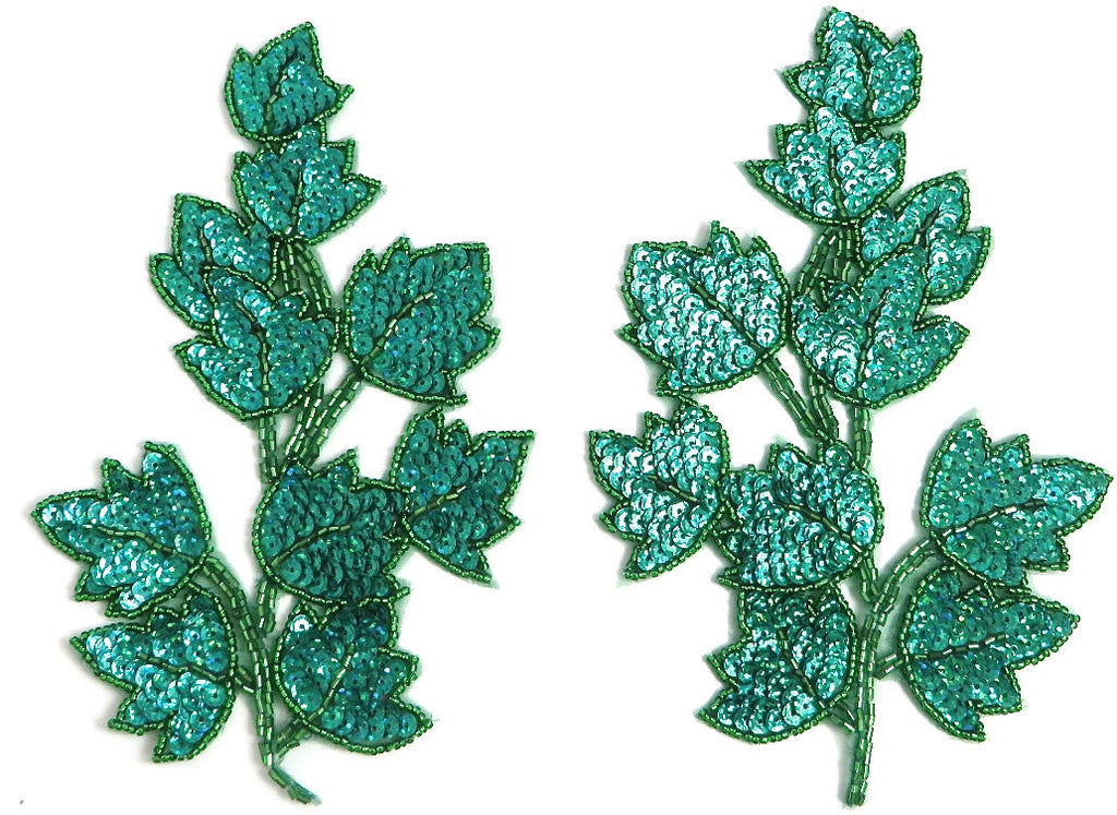 "Leaf Ivy Pair with Lazer Sparkley Green Sequins and Beads 7.5"" x 4.5"""