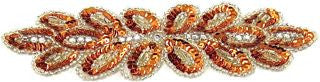"Flower Motif with Brite Orange Sequins and High Quality Rhinestones and Silver beads 8"" x 2.5"""
