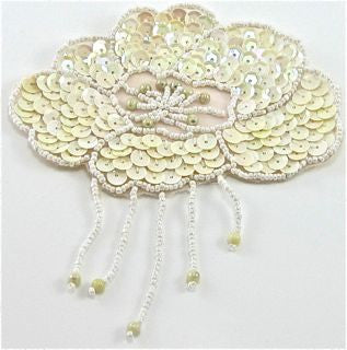 "Epaulet with Cream Colored Sequins and White Beads 4.5"" x 5"""