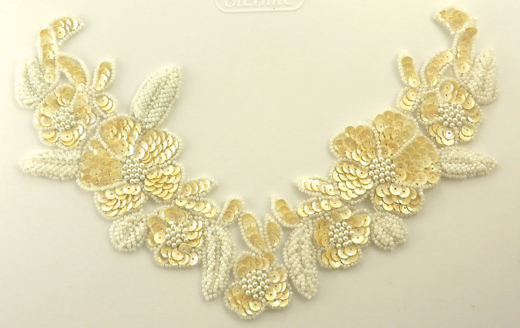 "Flower Collar Lite Beige Sequins White Pearl Beads 7"" x 13"""
