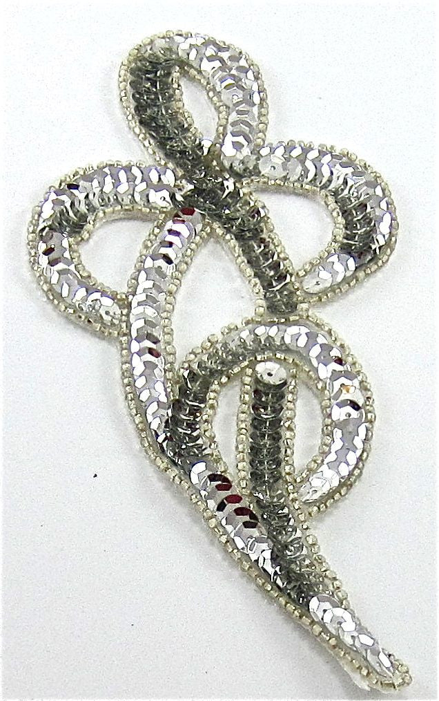 "Design Motif Swirl Silver with Beaded Trim 3"" x 4"""