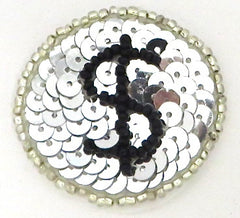 $ Gambling Chip, Silver Beads, Sequins or All Beaded 1.5""