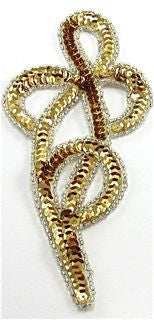 "Design Motif Gold Swirl Single with Silver Beads 2.5"" x 4"""