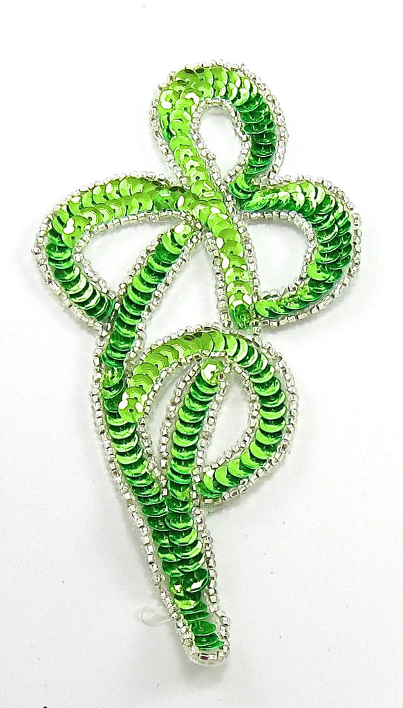 "Designer Motif with Lime Green Silver Beads 5.5"" x 2.5"""