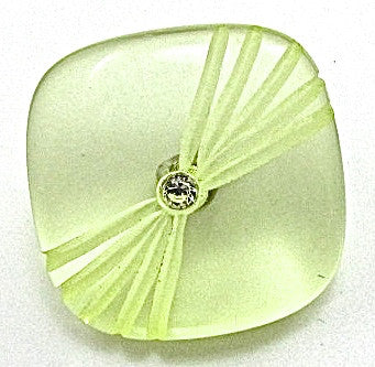 Button Glass with Lime Green Tint and Pattern Rhinestone  5/8""