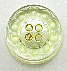 Button Glass with Orange or Greed Design Pattern 3/4""