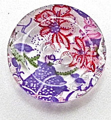 Button Glass with Streaks of Pink and Purple Flowers 1/5""