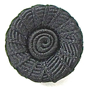 Button Black with Texture and Swirl 7/8""